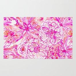 BOOM CLAP Tropical Pink Coral Floral Rug