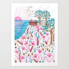 Cliff Top Cabin Art Print