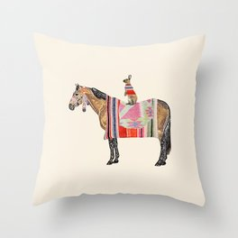 Horse with hare  Throw Pillow