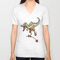 dino V-neck T-shirts featuring dino  by Bunny Noir