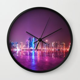 doha skyline Wall Clock