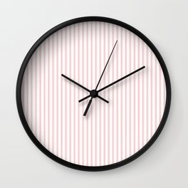 Pink Mellow Rose Mattress Ticking Narrow Striped Pattern - Fall Fashion 2018 Wall Clock