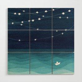 Garlands of stars, watercolor teal ocean Wood Wall Art