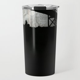 Paper City, Newspaper Bridge Collage Travel Mug