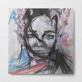 Flower Alien Girl - our beautiful Universe- original artwork by Luna Smith Metal Print
