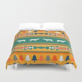 Ethnic Christmas pattern with deer Duvet Cover