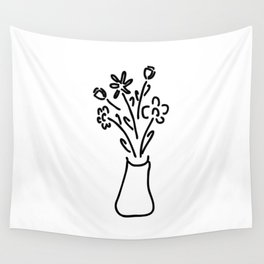 bouquet in vase with roses tulips Wall Tapestry