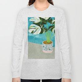 Variegated Monstera #tropical #painting #nature Long Sleeve T-shirt