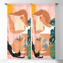 Tropical Yoga #illustration #tropical Blackout Curtain