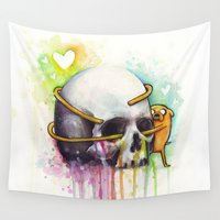 jake Wall Tapestries featuring Jake and Skull by Olechka