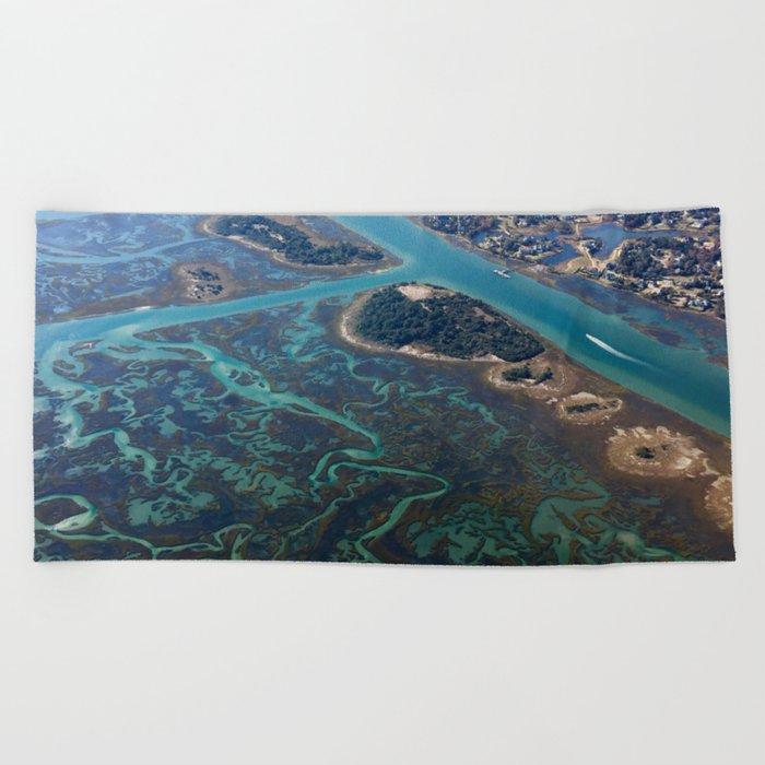 Aerial Photograph | Intracoastal Waterway | Wilmington North Carolina Beach  Towel by aerialbeachphotos