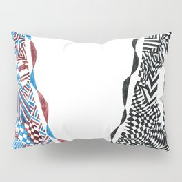 Letter V, Black/Red/Blue Abstract (Ink Drawing) Pillow Sham