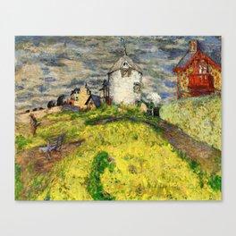 Mill In Saint-jacut Gold The Villas - Digital Remastered Edition Canvas Print
