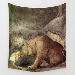John Bauer Kissed the Bear On The Nose 1907 Reproduction Young Princess Bear Fairy Tale Wall Tapestry