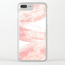 Stacked Pink Brushstrokes Clear iPhone Case