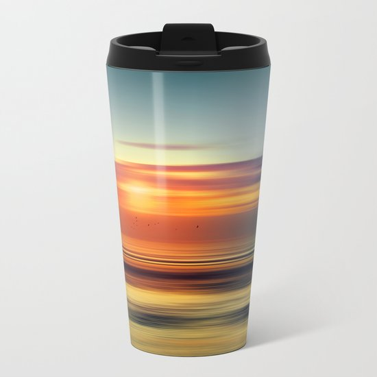 Bright Red - seascape sunset abstract Metal Travel Mug