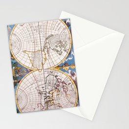 Vintage Map of The World (1700) Stationery Cards
