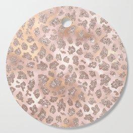 Rosegold Blush Leopard Glitter   Cutting Board