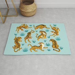 Tigers and tropical leaves. Rug