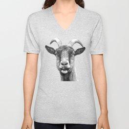 Black and White Goat Unisex V-Neck