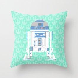 R2-D2 on Mint Rebellion Throw Pillow