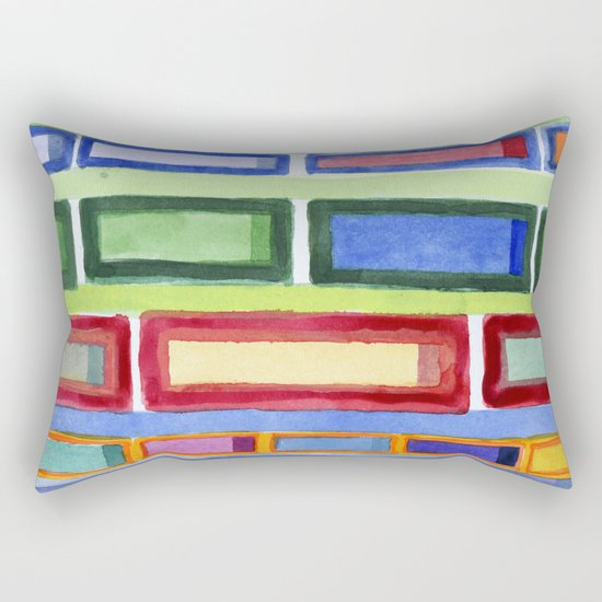 Narrow Frames in Vertical Rows Pattern Rectangular Pillow