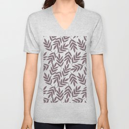 Mauve pink brown modern hand painted fall leaves Unisex V-Neck