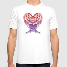 Heart Wings [Pink Version] White Mens Fitted Tee MEDIUM
