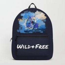 Wild and Free - Wolf illustration, quote Backpack