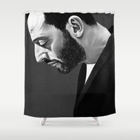 ruben Shower Curtains featuring Leon by Ruben Ireland