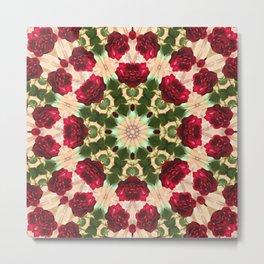 Old Red Rose Kaleidoscope 5 Metal Print