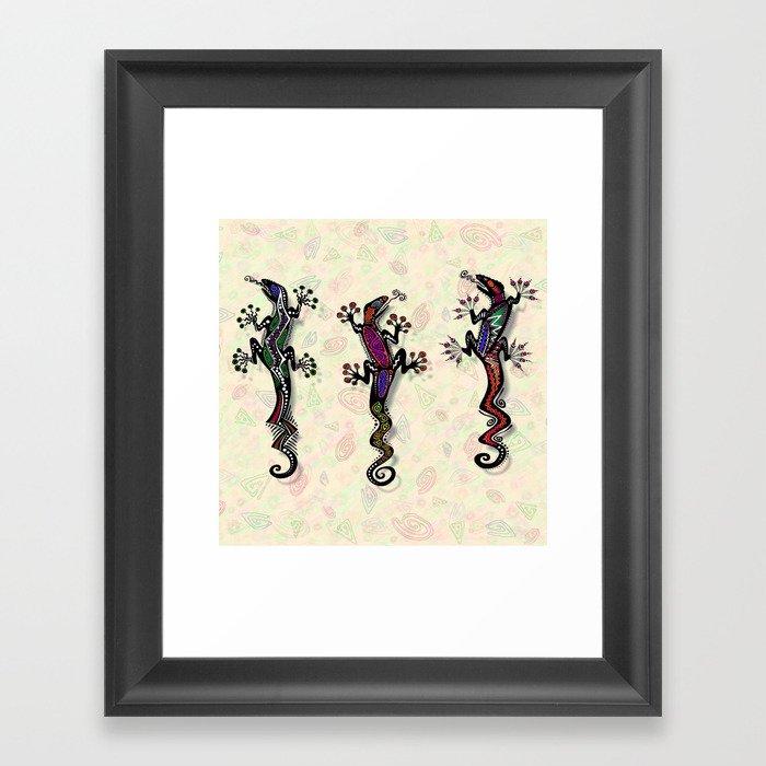 PARTY GECKOS Framed Art Print