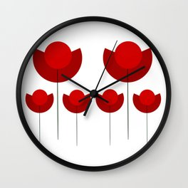Simple red Tulips Wall Clock