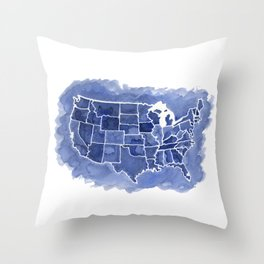 Watercolor Map of America Throw Pillow