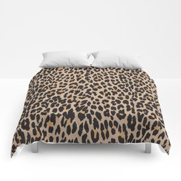 Animal Print, Spotted Leopard - Brown Black Comforters