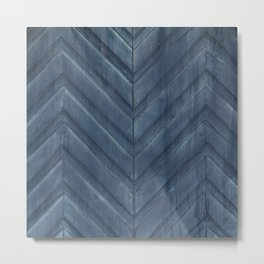 Midnight Blue Chevron Metal Print