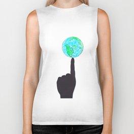 Earth on finger Biker Tank