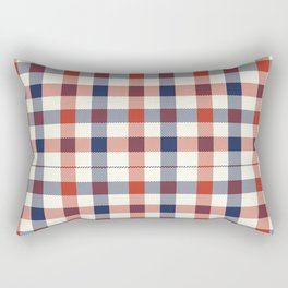Plaid Red White And Blue Lumberjack Flannel Rectangular Pillow