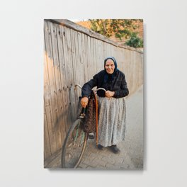 Lady pushing a vintage bike Metal Print