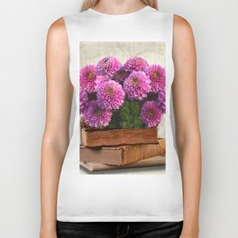 Old Books and Flowers Biker Tank