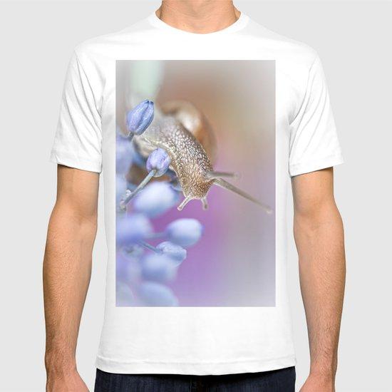 Snail on Grape Hyacinths T-shirt