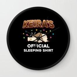 Keira Name Gift Sleeping Shirt Sleep Napping Wall Clock