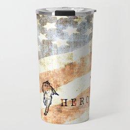 Firefighter Hero Grunge Travel Mug