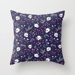 Skull Floral Throw Pillow