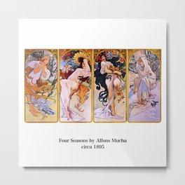 """Alfons Mucha, """" Four Seasons (1895)"""" Metal Print"""