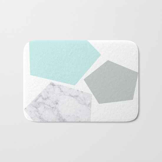 Geo marble and turquoise Bath Mat