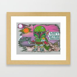 Boba Fett- 'Don't bother hiding' (with digital painted background) Framed Art Print