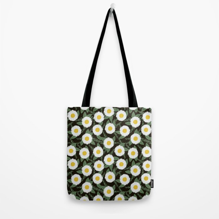 Daisies botanical floral print minimal flowers basic florals pattern charlotte winter dark Tote Bag