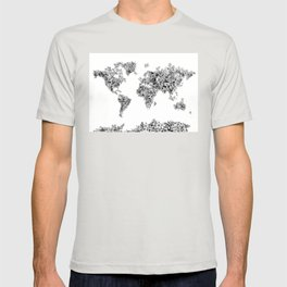floral world map black and white T-shirt