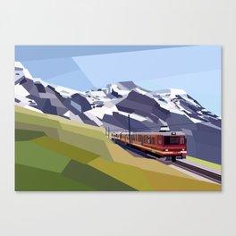 Geometric Jungfraujoch railway, Bernese Alps, Switzerland Canvas Print